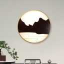 Black Mountain and River LED Wall Lamp Chinese Style Wood Wall Mural Lighting for Foyer