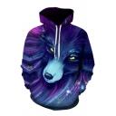 Stylish 3D Wolf Cat Feather Pocket Drawstring Long Sleeve Regular Fit Hooded Sweatshirt for Men