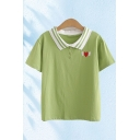 Cute Girls Heart Embroidered Short Sleeve Striped Turn down Collar Button Detail Slim Fit Polo Shirt
