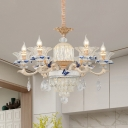 6 Heads Hanging Chandelier with Flower Shade Clear Crystal Glass Modernist Dining Room Pendant Light