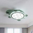 Green Turtle Flush Ceiling Light Cartoon Acrylic LED Flushmount Lighting for Child Bedroom