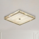 Nickel Finish LED Flushmount Lighting Minimal Beveled Crystal Square Ceiling Fixture for Bedroom