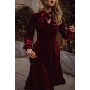 Elegant Womens Solid Color Velvet Long Sleeve Bow Tied Neck Cut out Midi Pleated A-line Dress in Burgundy