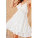 Lovely Womens White Spaghetti Straps Lace Trimmed Hollow out Back Ruffled Short Pleated A-line Cami Dress