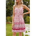 Stylish Womens Allover Floral Printed Spaghetti Straps V-neck Drawstring Waist Short A-line Cami Dress in Red