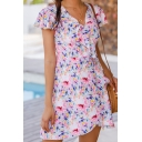 Pretty Womens Ditsy Floral Printed Ruffled Short Sleeve Surplice Neck Bow Tied Waist Mini A-line Wrap Dress in Pink