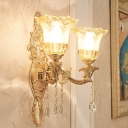 Bellflower Aisle Wall Mount Lighting Vintage Clear Glass 2 Lights Gold Wall Sconce