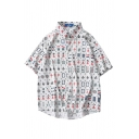 Creative All over Mahjong Pattern Button down Pocket Point Collar Short Sleeve Relaxed Fit Shirt for Men