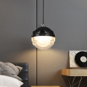Sphere Bedside Ceiling Pendant Acrylic Simplicity LED Hanging Light Fixture in Black