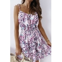 Popular Womens Allover Leaf Printed Spaghetti Straps Bow Tied Waist Mini Pleated A-line Cami Dress in Purple