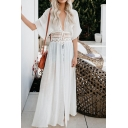 Beach Solid Color Short Sleeve Deep V-neck Bow Tied Waist Hollow out Maxi Pleated Flowy Dress