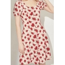 Pretty Ladies Allover Floral Print Short Sleeve Scoop Neck Button down Midi A-line Dress in Red