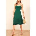 Special Occasion Bow Tied Shoulder Mid A-line Slip Dress in Green