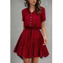 Gorgeous Womens Checkered Printed Short Sleeve V-neck Button up Drawstring Waist Ruffled Mini Pleated A-line Dress