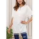 Casual Womens Fringe Decoration Short Sleeve Bow Tied Round Neck Tunic Loose T Shirt in White