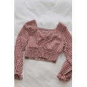 Sexy Girls Plaid Ruched Pleated Ruffle V Neck Long Sleeve Slim Fit Crop Blouse Top