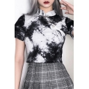 Chinese Style Ladies Tie Dye Print Short Sleeve Mandarin Collar Frog Button Slim Fit Cropped T Shirt in Black