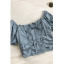 New Stylish Womens Solid Color Pleated Ruched Tied Detail Ruffle Trim Square Neck Short Puff Sleeve Slim Fit Cropped Shirt