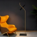 Minimalistic Tube Floor Light Metallic Living Room LED Stand Up Lamp with Square Marble Base in Chrome/Gold