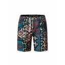 Mens Fancy Animal Letter Abstract Print Drawstring over the Knee Regular Fit Cotton and Linen Shorts