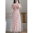 Girls Glamorous All over Star Embroidered See-through Mesh Short Sleeve Stringy Selvedge Pintuck Square Neck Maxi Pleated A-line Dress in Pink