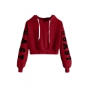 Street Letter East Coast Print Long Sleeve Drawstring Loose Fit Cropped Hoodie for Women