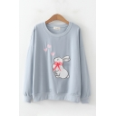 Fashionable Rabbit Embroidered Heart Print Long Sleeve Crew Neck Relaxed Pullover Sweatshirt for Women