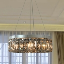 Drum Chandelier Pendant Lamp Modernism Smoke Gray Crystal Block 6 Bulbs Nickel Suspension Light