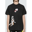 Spoof Astronaut Pattern Short Sleeve Crew Neck Relaxed Fit T Shirt for Boys