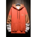 Chic Mens Colorblock Stitch Letter Manhomme Butohiddt Printed Pocket Drawstring Long Sleeve Regular Fitted Hoodie