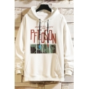 Unique Character Letter Pfeosion Printed Pocket Drawstring Long Sleeve Relaxed Fitted Graphic Hoodie for Men