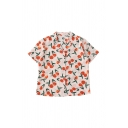Preppy Womens Fruit Printed Button Down Lapel Collar Short Sleeve Relaxed Fit Tunic Shirt in Orange