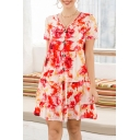 Fashion Womens Graffiti Pattern Short Sleeve V-neck Button up Ruffled Short Pleated Swing Dress in Red