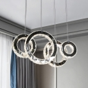 Clear Crystal Rings Multi Light Pendant Simple LED Stainless-Steel Ceiling Suspension Lamp