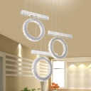 Modern Hoop and Linear Multiple Hanging Lamp Crystal Dining Room LED Pendulum Light in Chrome