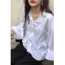 Stylish White Blouson Sleeve Stand Collar Button-up Relaxed Fit Shirt for Ladies