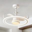 Nordic 3-Blade Circular Ceiling Fan Light Acrylic Living Room LED Semi Flush Mount in White, 23.5