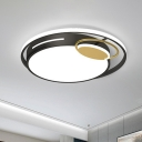 Minimalist LED Flush Light Fixture Black-Gold Round Ceiling Mount Lamp with Acrylic Shade in Warm/White Light