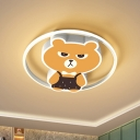 Cartoon Bear Flush Mount Lighting Metallic LED Bedroom Flush Lamp Fixture in Yellow, White/Warm Light