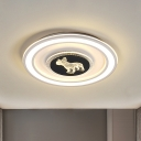 Square/Round Acrylic Flush Light Fixture Nordic LED Black-White Flush Mounted Lamp with Animal Pattern