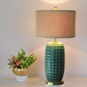 Rustic Oval Night Table Light 1 Head Ceramic Nightstand Lamp in Green with Drum Fabric Shade