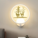 Wild Deer Wall Mural Lamp Nordic Acrylic Gold and White Circle LED Sconce Lighting for Bedroom