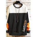 Mens Pullover Sweatshirt Chic Contrasted Letter Do Not Take This Paint Product Pattern Cuffed Long Sleeve Regular Fit Crew Neck Pullover Sweatshirt