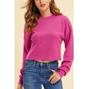Stylish Solid Color Long Sleeve Crew Neck Loose Crop Pullover Sweatshirt for Girls in Rose Red
