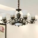 Black 3/8/6 Lights Chandelier Pendant Lamp Vintage White Frosted Glass Bell Up Hanging Light Kit