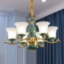 Bell Shade Drawing Room Hanging Chandelier Country Style Frosted Glass 3/6-Light Green Ceramics Pendant Lamp