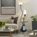 White/Black LED Stand Up Light Countryside Cream Glass Floral Floor Table Lamp for Living Room