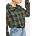 Casual Womens Plaid Print Long Sleeve Peter Pan Collar Loose Fit Shirt in Army Green
