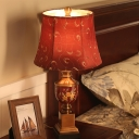 Traditional Empire Shade Desk Light 1 Light Fabric Night Table Lamp in Red for Bedside