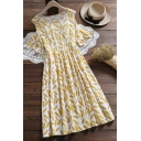 Hot Popular Girls Leaves Printed Ruffle Trim Pleated Crew Neck Short Cold Shoulder Midi Flowy Dress in Yellow